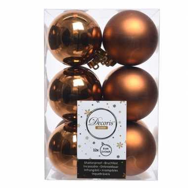 Koperen kerstballen van kunststof 6 cm
