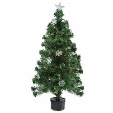Kunst kerstboom met sneeuwvlokken en fiber verlichting 60 cm