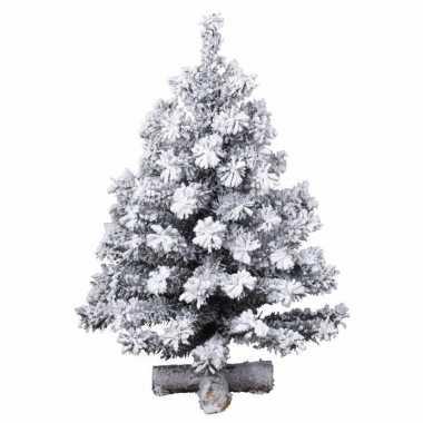 Kunstkerstboom groen met sneeuw 90 cm