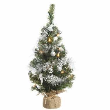 kunstkerstboom groen zilver 60 cm met 20 warm witte lampjes