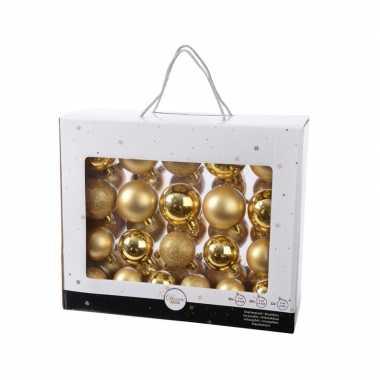 Kunststof kerstballen mix goud 42 delig glimmend en glitter