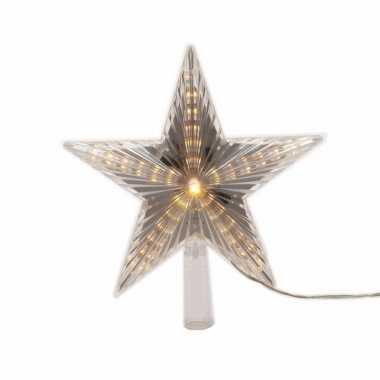 Lichtgevende ster kerstboom piek 22 cm warm wit