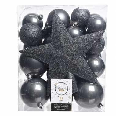 Luxe Kerstballen Pakket Piek Antraciet Kunststof 33 Stuks Kerst