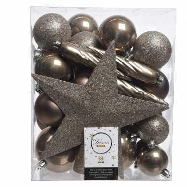 Luxe kerstballen pakket + piek bruin kunststof 33 stuks