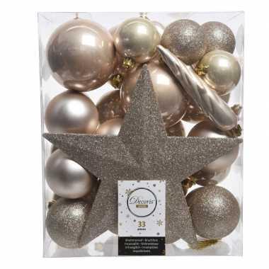 Luxe Kerstballen Pakket Piek Champagne Kunststof 33 Stuks Kerst