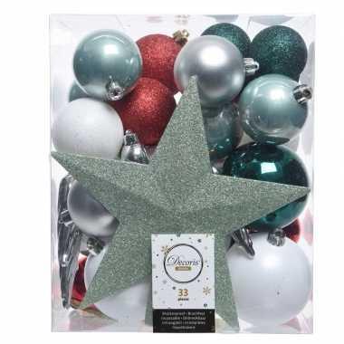 Luxe kerstballen pakket + piek dennen groen/zilver/wit kunststof 33 s