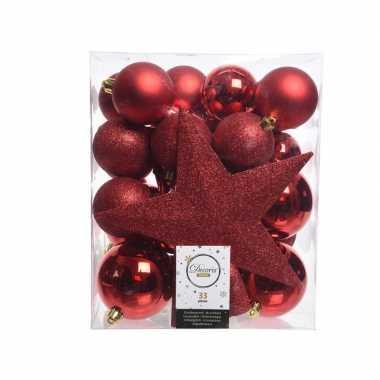Luxe kerstballen pakket + piek rood kunststof 33 stuks