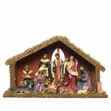 Mdf kerststal met 9 kerstbeeldjes 51 cm