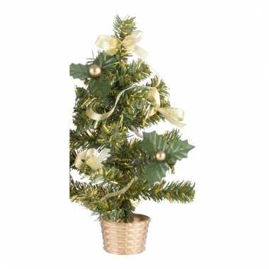 Mini kerstboompje gouden versiering 20 cm