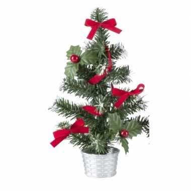 Mini kerstboompje zilver met rood 45 cm