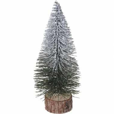 Mini kunst kerstboom met sneeuw 25 cm
