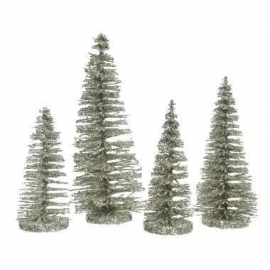 Mintgroene mini decoratie kerstboompjes 4 stuks