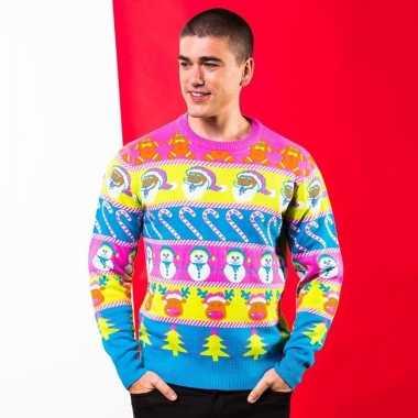 Multikleuren kerst trui voor heren