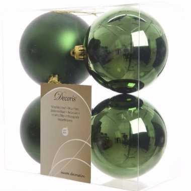 Mystic christmas kerstboom decoratie kerstballen 10 cm groen 4 stuks