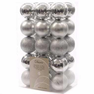 Mystic christmas kerstboom decoratie kerstballen 6 cm zilver 30 stuks