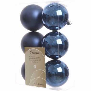 Mystic christmas kerstboom decoratie kerstballen blauw 6 stuks