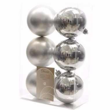 Mystic christmas kerstboom decoratie kerstballen zilver 6 stuks