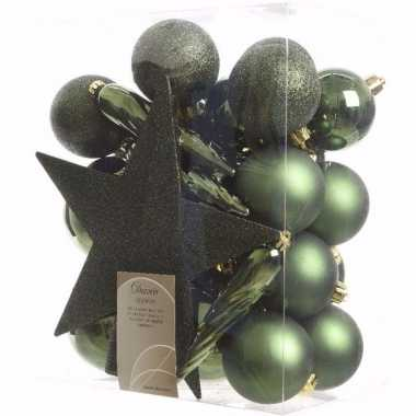 Nature christmas kerstboom decoratie set 33-delig