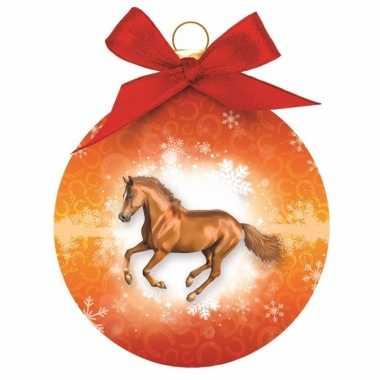 Oranje kerstbal paard 8 cm
