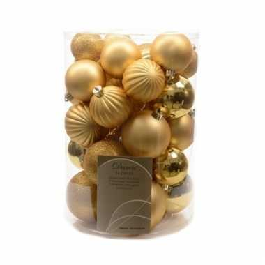 Plastic gouden kerstballen mix 34x