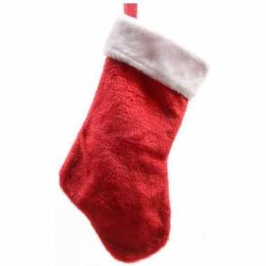 Pluche kerstsokken 40 cm rood/wit