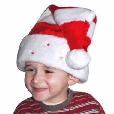 Pluche kinder kerst muts gestreept
