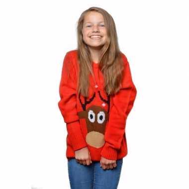Rode foute kersttrui met rendier voor kids