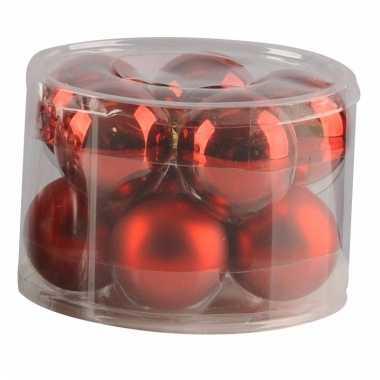 Rode glazen kerstballen 10 stuks