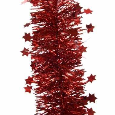 Rode kerstboom folie slinger met ster 270 cm