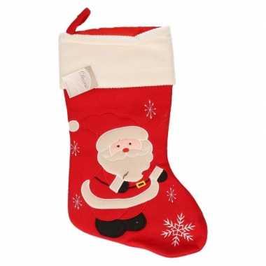Rode kerstsok met kerstman 45 cm