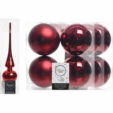 Rode kerstversiering/kerstdecoratie set piek en 12x kerstballen 10 cm