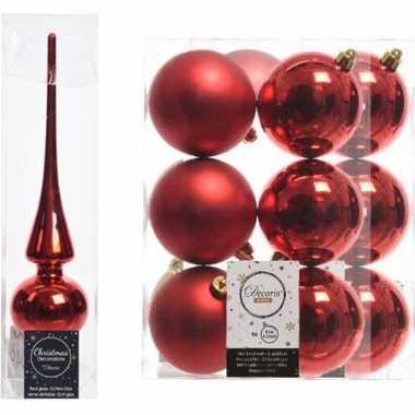 Rode kerstversiering/kerstdecoratie set piek en 12x kerstballen 8 cm