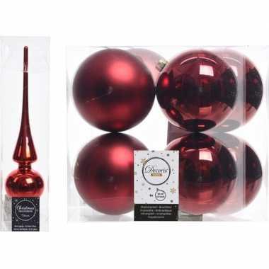 Rode kerstversiering/kerstdecoratie set piek en 8x kerstballen 10 cm