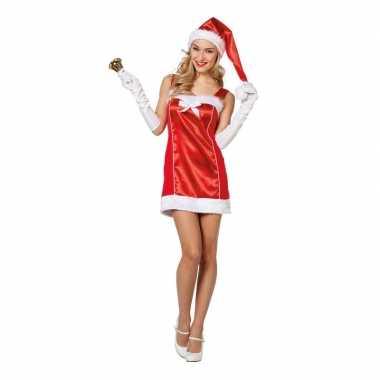 Rode korte kerst jurk met muts voor dames