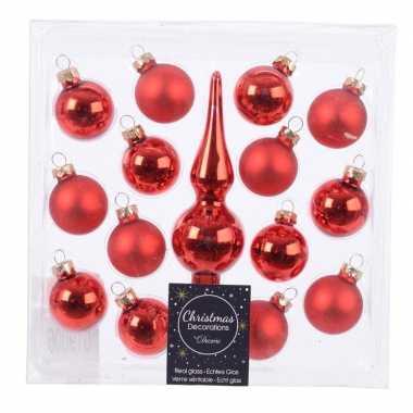 Roden kerstballen en piek set voor mini kerstboom
