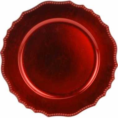 Ronde kerst rode kaars onderborden/kaarsenborden 33 cm