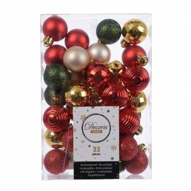 Rood/groen/gouden kerstboomballen set 33 stuks