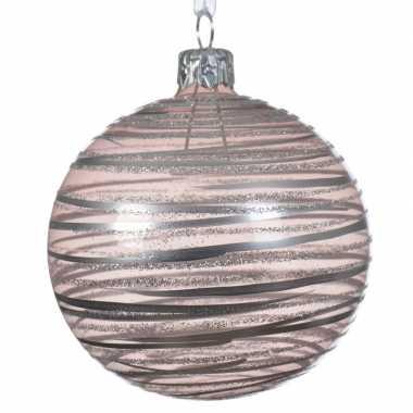Roze kerstballen transparant 8 cm