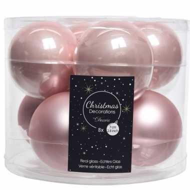 Roze kerstballenset glas 8 stuks