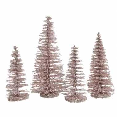 Roze mini decoratie kerstboompjes 4 stuks
