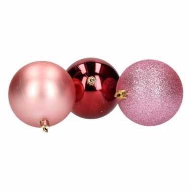 Sensual christmas 9 delige kerstballen set roze bordeaux