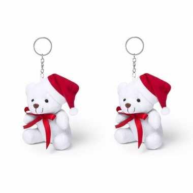 Set van 2x stuks sleutelhanger kerstbeertje 10 cm