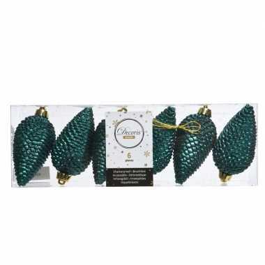 Smaragd groene kerst dennenappel set 8 cm