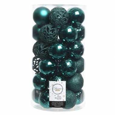 Smaragd groene kerstballen set 6 cm 36 stuks