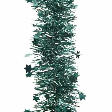Smaragd groene kerstboom folie slinger met ster 270 cm