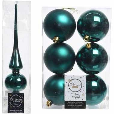 Smaragd groene kerstversiering/kerstdecoratie set piek en 6x kerstbal
