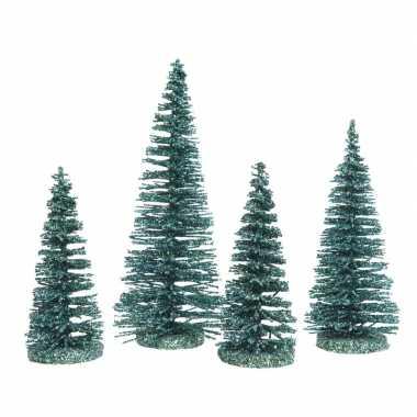 Smaragd kleine groene decoratie kerstboompjes 4 stuks