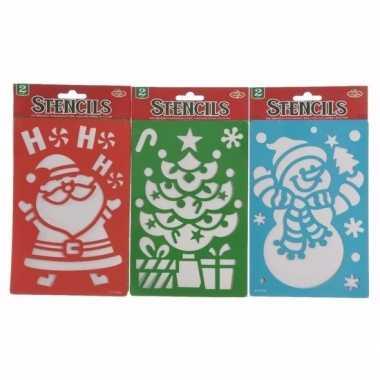 Sneeuwspray sjabloon kerstman/kerstkrans 25 cm