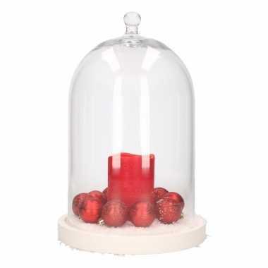 Stolp met rode led kaars en rode kerstballen
