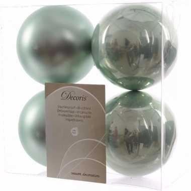 Sweet christmas kerstboom decoratie kerstballen 10 cm mint 4 stuks